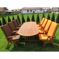 zestaw ogrodowy drewniany (8 krzeseł Cardiff + stół Stockholm + 8 poduch)