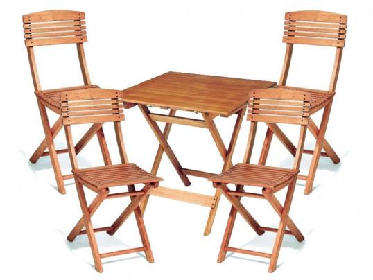 Zestaw mebli ogrodowych Cayenne (70 x 70) z 4 krzesłami składanymi Cayenne