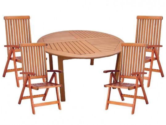 Zestaw mebli ogrodowych Cocos stół o średnicy 140cm z 4 krzesłami do wyboru (Baltic, Wellington, Cardiff lub Calgary)