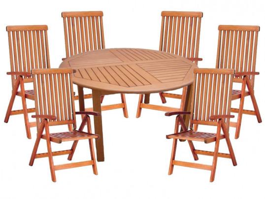 Zestaw mebli ogrodowych Cocos stół o średnicy 140cm z 6 krzesłami do wyboru (Baltic, Wellington, Cardiff lub Calgary)