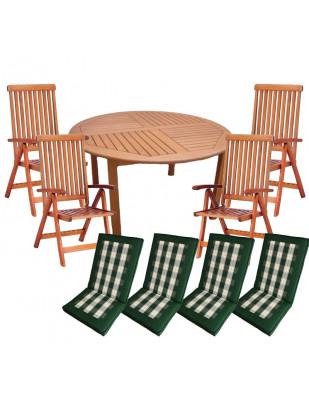 Zestaw mebli ogrodowych Cocos stół o średnicy 140cm z 4 krzesłami do wyboru + komplet poduch