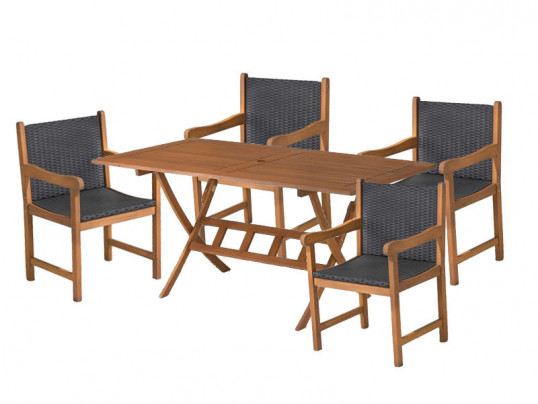 Zestaw ogrodowy (4 fotele Nottingham + stół Bradford) wizualizacja