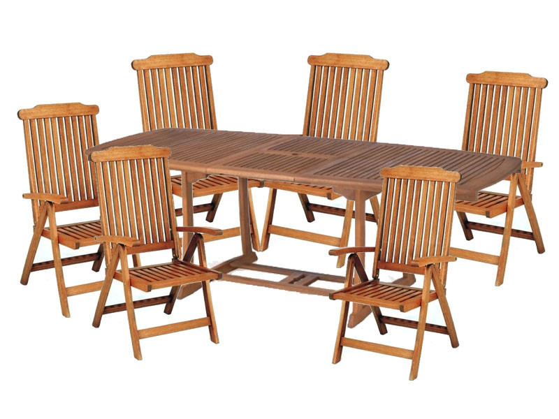 Zestaw ogrodowy (stół Prowansja 180-230x100x75cm + 6 krzeseł Baltic) wizualizacja