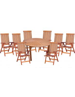 Zestaw mebli ogrodowych Cocos stół o średnicy 140cm z 8 krzesłami do wyboru (Baltic, Wellington, Cardiff lub Calgary)