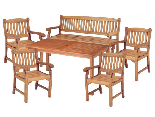 Zestaw ogrodowy (4 fotele Edinburgh + stół Dover + 1 ławka)