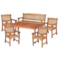 Zestaw ogrodowy (4 fotele Edinburgh + stół Dover + 1 ławka) wizualizacja