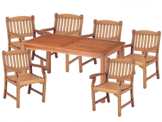 Zestaw ogrodowy (6 foteli Edinburgh + stół Dover) wizualizacja