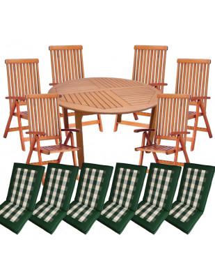 Zestaw mebli ogrodowych Cocos stół o średnicy 140cm z 6 krzesłami do wyboru + komplet poduch
