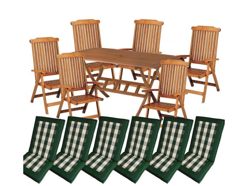 zestaw ogrodowy drewniany Bradford 100x200 (6 krzeseł Baltic + poduchy PREMIUM wizualizacja