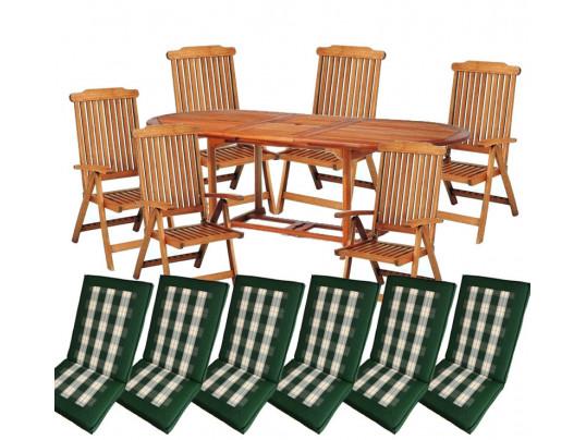 Zestaw mebli ogrodowych Toledo (180-230 x 100) z 6 krzesłami Baltic i kompletem poduch Premium