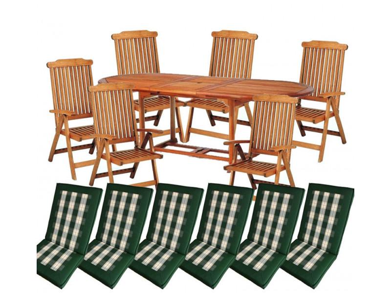 meble ogrodowe (6 krzeseł Baltic + stół Toledo + 6 poduch)
