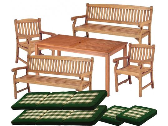 Zestaw mebli ogrodowych Dover (150 x 80) z 2 fotelami Edinburgh + 2 ławki Edinburgh + komplet poduch Premium
