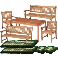 Zestaw ogrodowy (2 fotele Edinburgh + stół Dover + 2 ławki + poduchy PREMIUM) wizualizacja
