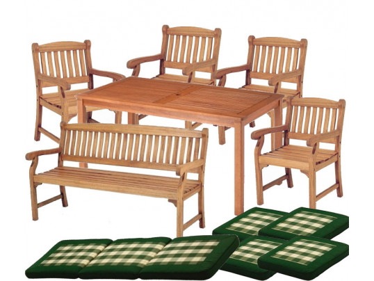 Zestaw mebli ogrodowych Dover (150 x 80) z 4 fotelami Edinburgh + 1 ławka Edinburgh + komplet poduch Premium