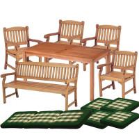 Zestaw ogrodowy (4 fotele Edinburgh + stół Dover + 1 ławka + poduchy PREMIUM) wizualizacja