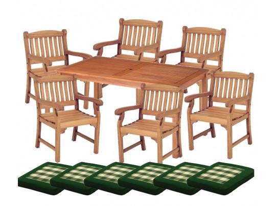 Zestaw mebli ogrodowych Dover (150 x 80) z 6 fotelami Edinburgh + komplet poduch Premium