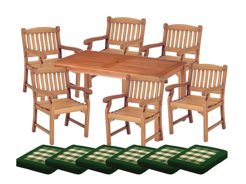 Zestaw ogrodowy (6 foteli Edinburgh + stół Dover + poduchy PREMIUM)