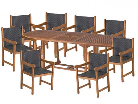 Zestaw ogrodowy (stół Prowansja + 8 foteli Nottingham) wizualizacja