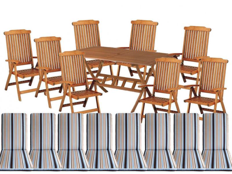 Zestaw ogrodowy Bradford 100x200 (8 krzeseł Baltic + poduchy w paski) wizualizacja