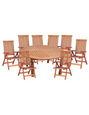 Zestaw mebli ogrodowych Cocos stół o średnicy 180cm z 8 krzesłami do wyboru (Baltic, Wellington, Cardiff lub Calgary)