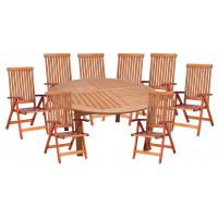 meble ogrodowe stół krzesła (Stół Cocos 180cm + zestaw 8 krzeseł 5-pozycyjnych do wyboru) wizualizacja