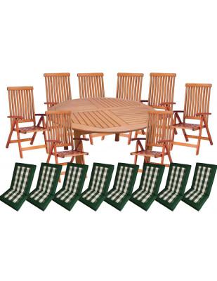 Zestaw mebli ogrodowych Cocos stół o średnicy 140cm z 8 krzesłami do wyboru + komplet poduch