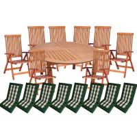 Zestaw ogrodowy (Stół Cocos 140cm + zestaw 8 krzeseł 5-pozycyjnych do wyboru + 6 poduch do wyboru) wizualizacja