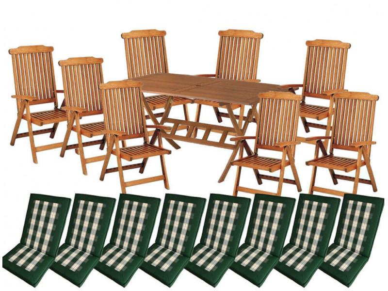 Zestaw ogrodowy Bradford 100x200 (8 krzeseł Baltic + zielone poduchy) wizualizacja