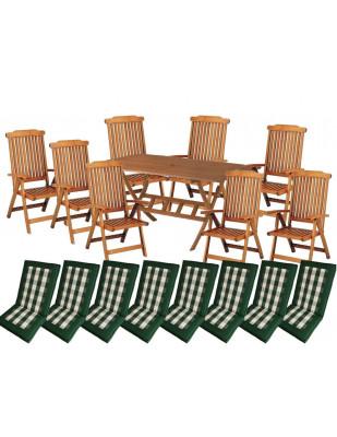 Zestaw mebli ogrodowych Bradford (200 x 100) z 8 krzesłami Baltic + komplet poduch Premium
