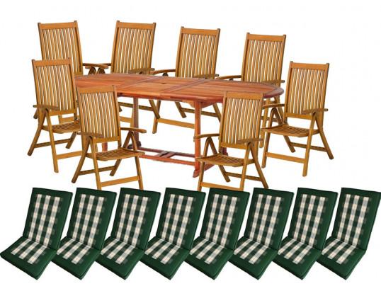 Zestaw mebli ogrodowych Toledo (180-230 x 100) z 8 krzesłami Cardiff + komplet poduch