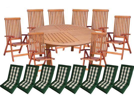 Zestaw ogrodowy (Stół Cocos 180cm + zestaw 8 krzeseł 5-pozycyjnych do wyboru + 8 poduch do wyboru) wizualizacja