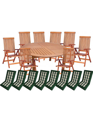 Zestaw mebli ogrodowych Cocos stół o średnicy 180cm z 8 krzesłami do wyboru + komplet poduch