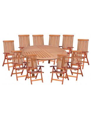Zestaw mebli ogrodowych Cocos stół o średnicy 180cm z 10 krzesłami do wyboru (Baltic, Wellington, Cardiff lub Calgary)