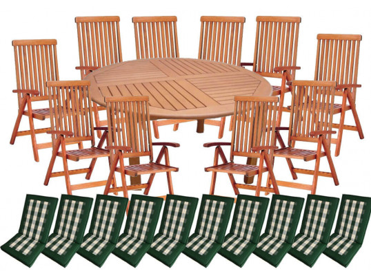 Zestaw mebli ogrodowych Cocos stół o średnicy 180cm z 10 krzesłami do wyboru + komplet poduch