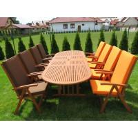meble ogrodowe drewniane (8 krzeseł Wellington + stół Stockholm)
