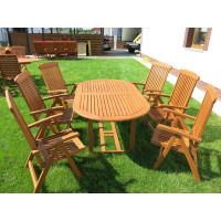 zestaw ogrodowy drewniany (6 krzeseł Baltic + stół Toledo + 6 poduch)
