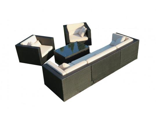 Zestaw mebli ogrodowych z technorattanu Madryt (2) - Zestaw modułowy (6 elementów)