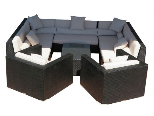 Zestaw mebli ogrodowych z technorattanu Madryt (15) - Zestaw modułowy (8 elementów)