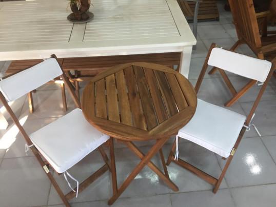 Zestaw Mebli Ogrodowych Bistro Stolik O średnicy 60cm Z 2 Krzesłami Składanymi Komplet Poduch