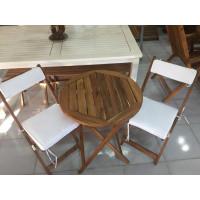 Zestaw mebli ogrodowych Bistro (stolik o średnicy 60cm z 2 krzesłami składanymi + komplet poduch)