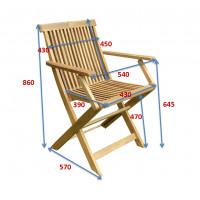 Krzesło ogrodowe składane Oxford z podłokietnikiem