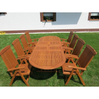 Zestaw mebli ogrodowych Stockholm (210-250-290 x 100) z 10 krzesłami do wyboru+ komplet poduch