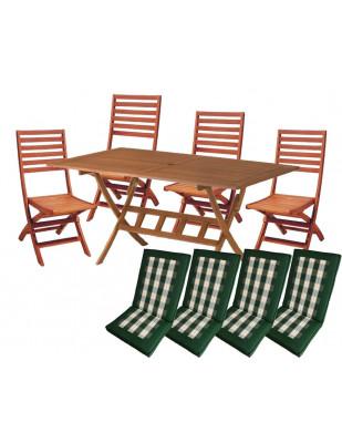 Zestaw mebli ogrodowych Bradford (160 x 90) z 4 krzesłami Tenerife + komplet poduch Premium