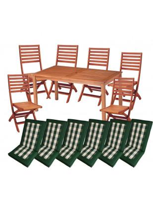Zestaw mebli ogrodowych Dover (150 x 80) z 6 krzesłami Tenerife i kompletem poduch Premium