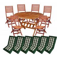 Zestaw mebli ogrodowych Bradford stół o średnicy 110cm + 6 krzeseł Tenerife + komplet poduch Premium
