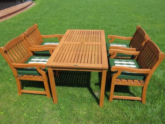 Zestaw mebli ogrodowych Dover (150 x 80) z 4 fotelami Edinburgh + komplet poduch Premium