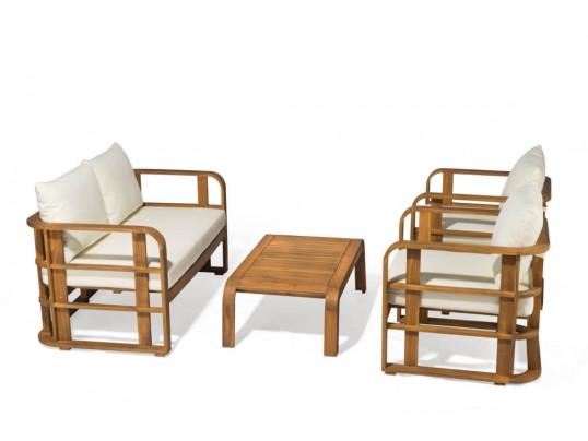 Zestaw mebli ogrodowych Budapeszt z 2 fotelami, ławką i poduchami (1)