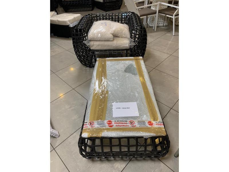 Zestaw 1 fotel z poduszkami ze stolikiem (z zestawu London)