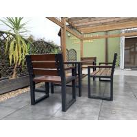 Zestaw ogrodowy Commodus: stół + 2 ławki z oparciem + 2 krzesła