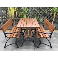 Zestaw ogrodowy Regiis: stół + 2 ławki z podłokietnikami